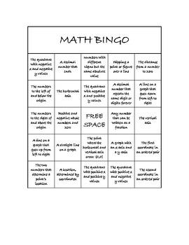 "Common Core Math Games - ""Math BINGO"" Coordinates & Numbers - 6th Grade"
