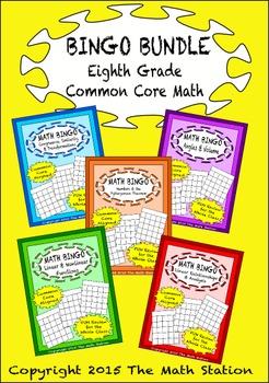 "Common Core Math Games - ""Math BINGO"" Eighth Grade Bundle"
