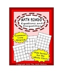 "Common Core Math Games - ""Math BINGO"" Equations & Inequalities - 6th Grade"