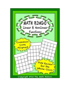 "Common Core Math Games - ""Math BINGO"" Functions - 8th Grade"
