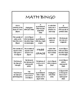 "Common Core Math Games - ""Math BINGO"" Geometry - 6th Grade"