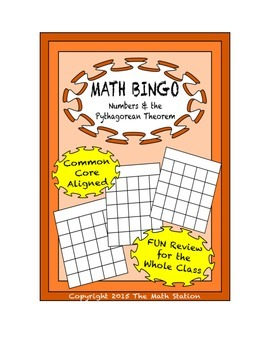 "Common Core Math Games - ""Math BINGO"" Numbers & Pythagorean Theorem - 8th Gr"