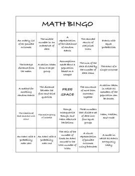 """Common Core Math Games - """"Math BINGO"""" Probability & Statistics - 7th Grade"""