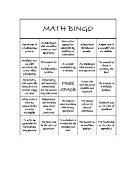 "Common Core Math Games - ""Math BINGO"" Properties & Expressions - 6th Grade"