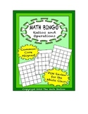 "Common Core Math Games - ""Math BINGO"" Ratios and Operations - 6th Grade"