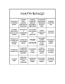 "Common Core Math Games - ""Math BINGO"" Ratios and Operations - 6th Grade"