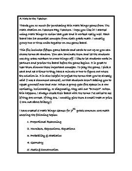 """Common Core Math Games - """"Math BINGO"""" Scale & Construction - 7th Grade"""