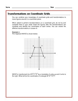 Common Core Math: Transformations on Coordinate Grids - Tutorial and Practice