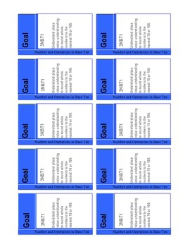 Common Core Math Goal Cards Complete Set {3rd Grade}