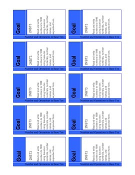 Common Core Math Goal Cards for Number and Operations {2nd Grade}