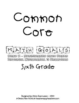 Common Core Math Goal Page - Operations with Whole Numbers
