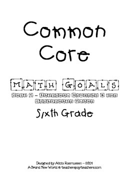 Common Core Math Goal Page - Rational Numbers & the Coordinate Plane