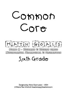 Common Core Math Goal Page - Ratios & Rates with Fractions, Decimals, & Percents