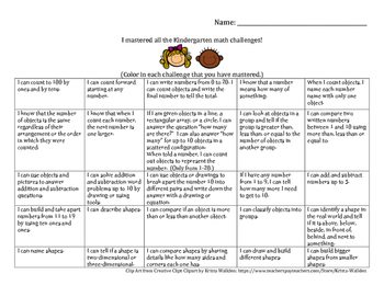 Common Core Math Goal Sheet for Students