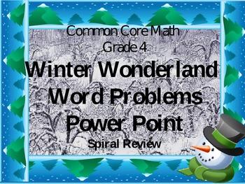 Common Core Math Gr 4 Winter Wonderland Word Problem Spiral Review Power point