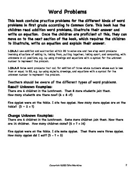 Common Core Math Grade 1 More Addition Word Problems 1.OA.A.1/1.OA.A.2