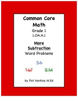 Common Core Math Grade 1 More Subtraction Word Problems 1.OA.A.1
