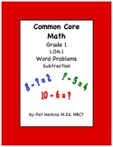 Common Core Math Grade 1 Subtraction Word Problems 1.OA.1