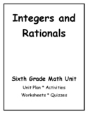 6th Grade Common Core Math Integers and Rationals Unit--Number Systems Part II