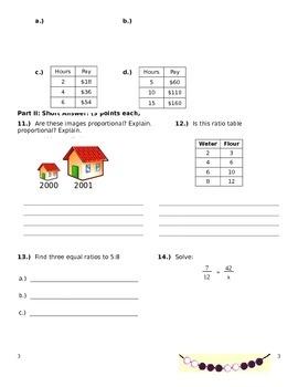 Common Core Math Grade 6 Ratio Proportion Test A