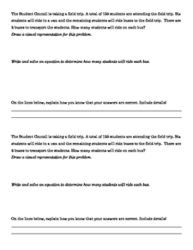 Common Core Math, Grade 7 Word Problems with Rubric