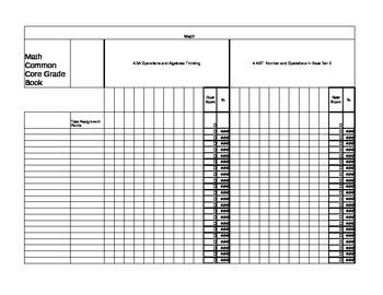 Common Core Math Gradebook