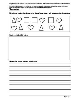 Common Core Math Homework for First Grade