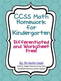 Common Core Math Homework for Kindergarten