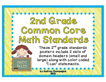 """Common Core Math """"I Can"""" Standards- 2nd Grade"""