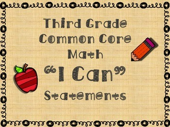 Common Core Math I Can Statements