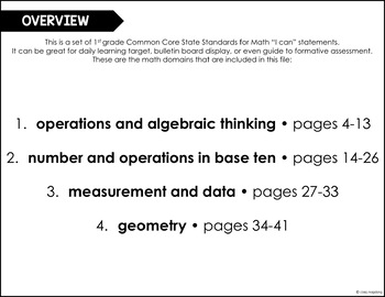 Common Core Math I Can Statements 1st Grade