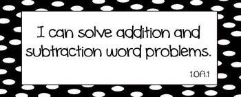 """Common Core Math """"I Can"""" Statements 1st Grade- Black and White"""