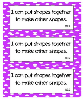 "Common Core Math ""I Can"" Statements 1st Grade- Colored"