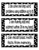 """Common Core Math """"I Can"""" Statements 2nd Grade- Black and White"""