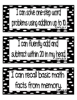 "Common Core Math ""I Can"" Statements 2nd Grade- Black and White"