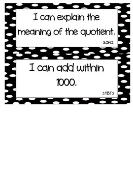 "Common Core Math ""I Can"" Statements 3rd Grade- Black and White"
