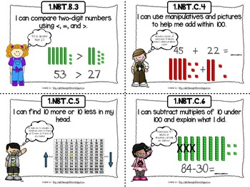 Common Core Math I Can Statements First Grade