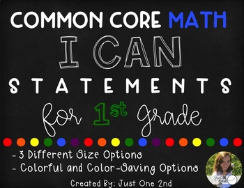 Common Core Math I Can Statements for 1st Grade