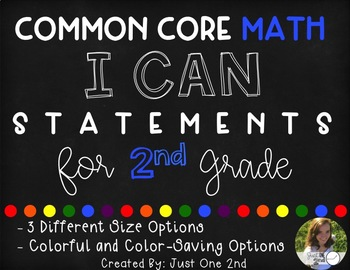 Common Core Math I Can Statements for 2nd Grade