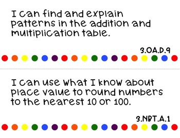 Common Core Math I Can Statements for 3rd Grade