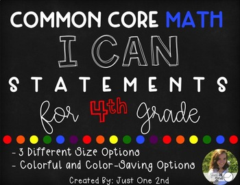 Common Core Math I Can Statements for 4th Grade