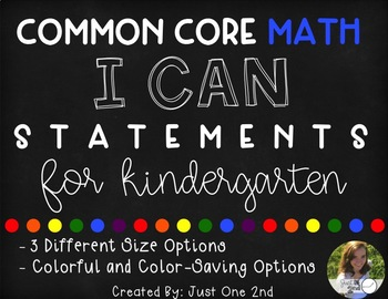 Common Core Math I Can Statements for Kindergarten