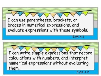 Common Core Math I Can statements 5th grade