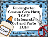 "Kindergarten Math Worksheets -  ""I can"" Statements for Common Core"