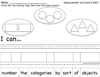 """Kindergarten Math Worksheets - """"I can"""" Statements for ..."""