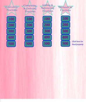 Common Core Math Jeopardy Game Fractions: Comparing, Ordering, Adding SMARTBOARD