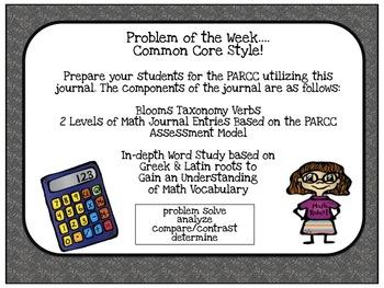 Common Core Math Journal PARCC