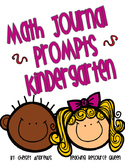 Math Journal Prompts for Kindergarten~Version 1