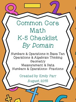 Common Core Math K-5 Checklist Clustered *BY DOMAIN*