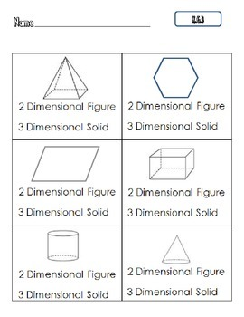 Common Core Math K.G.3 : Two-Dimensional vs Three-Dimensional